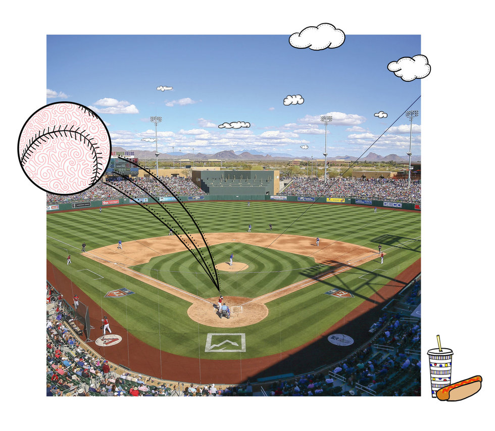 Illustration of baseball park