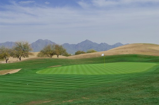 the putting green on a golf course