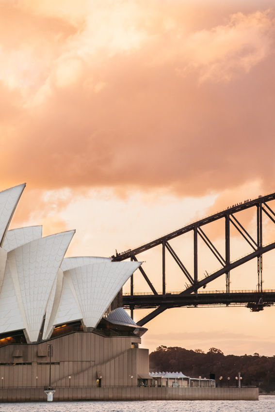 The Sydney Opera House and climbers on the Harbour Bridge