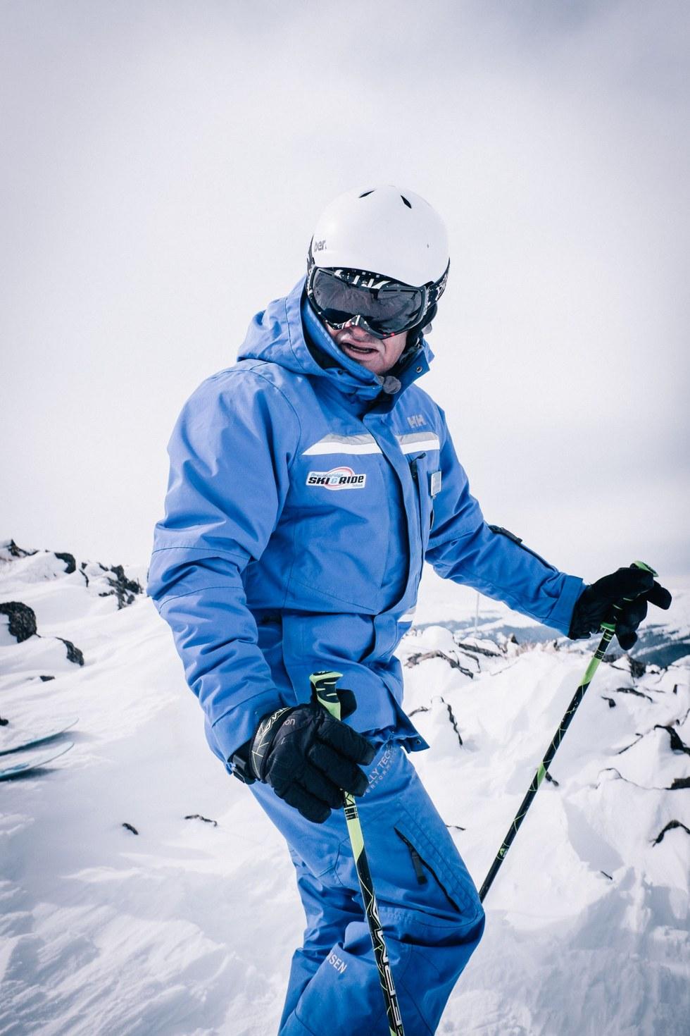 Ski guide Lee Sky takes a breather in Breckenridge