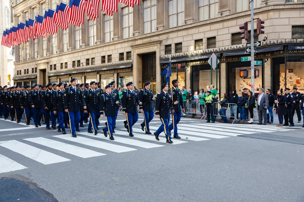 Thousands of people marching in the St. Patrick's Day parade in NYC