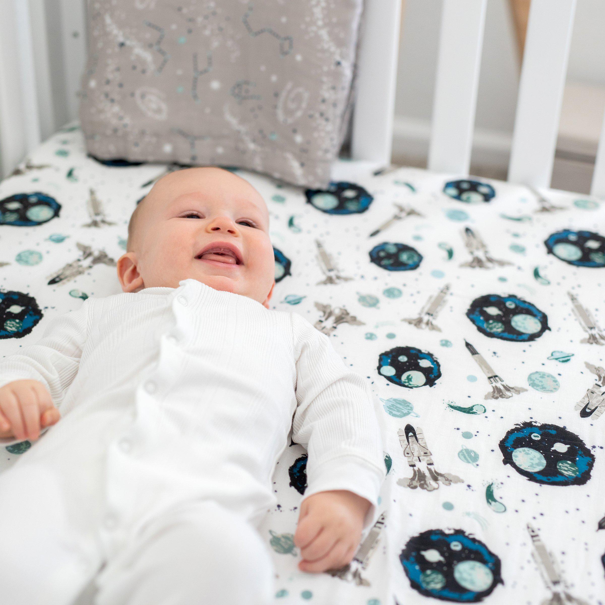 Bebe au lait oh-so-soft space muslin crib sheet