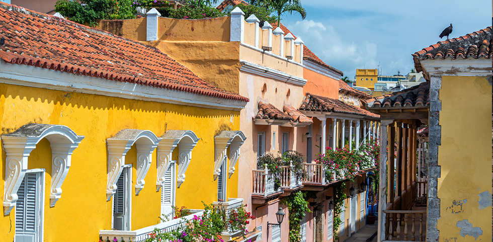 Bright colored homes in Cartagena, Colombia
