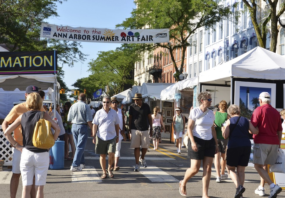 View of the Art Festival on the streets in Ann Arbor, Michigan