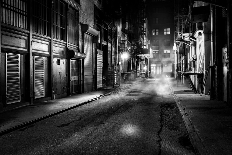 Dark alley in New York City, New York