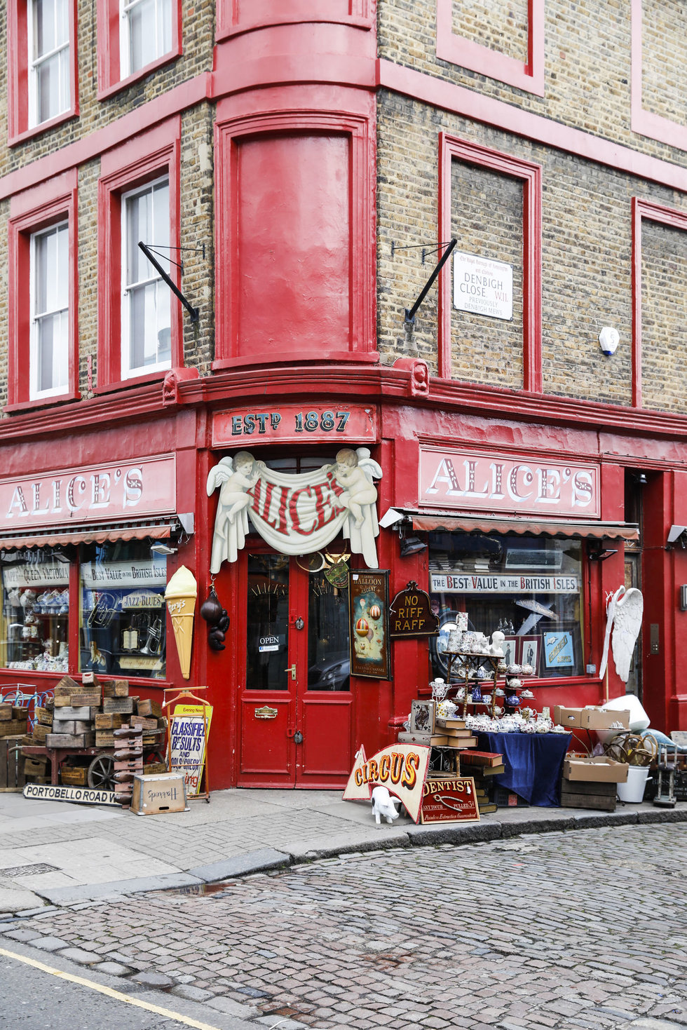An antiques shop on Portobello Road