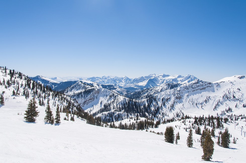 View of the mountains and ski passes in Snowbird, Utah.
