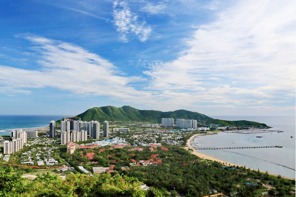 Aerial view of the city and beach on Hainan Island in China