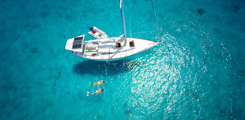 Snorkeling the clear blue waters in the British Virgin Islands