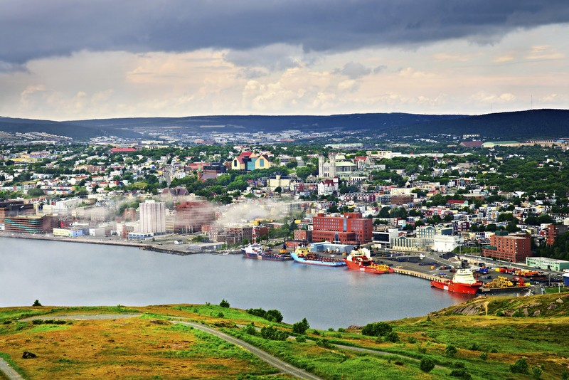 Aerial view of the city of St. John's in Newfoundland