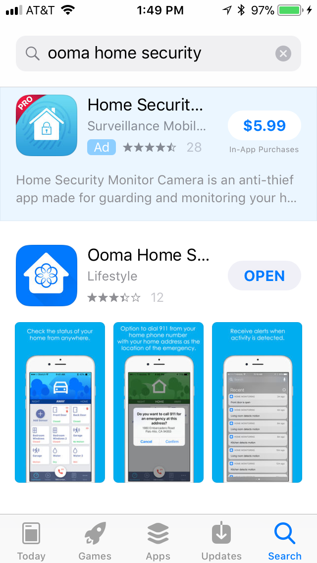 Ooma DIY Home Security Mobile app