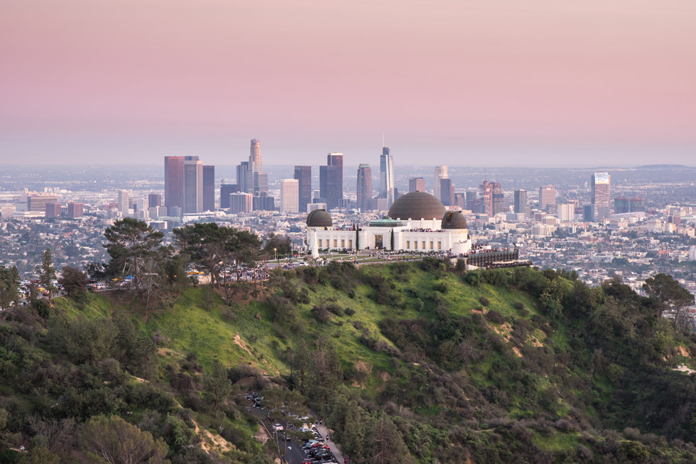 Aerial view of the Griffith Park Observatory at sunset