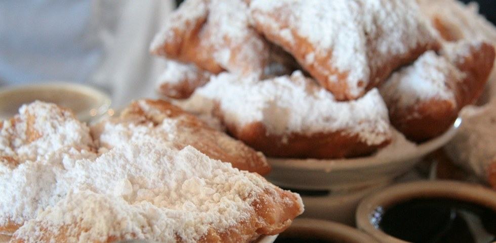 sugar-coated beignets in New Orleans