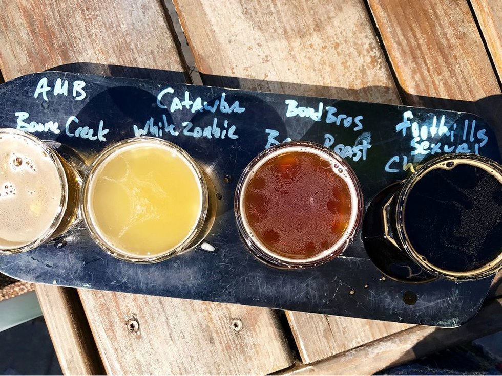 Flight different beers