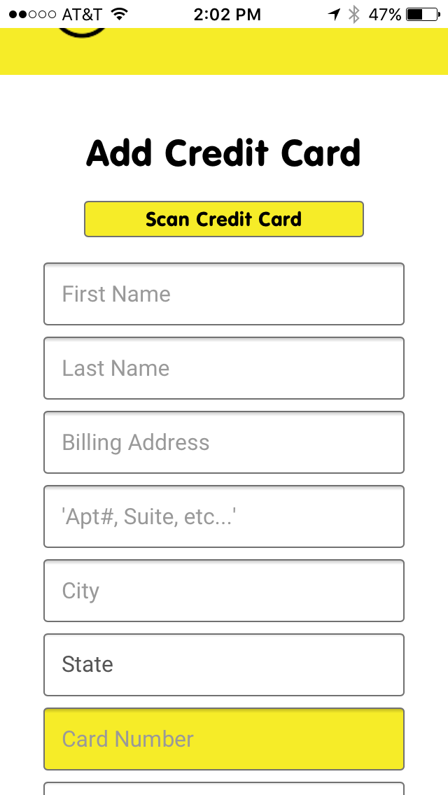 Add Your Credit Card Information to Pay for Monthly Service