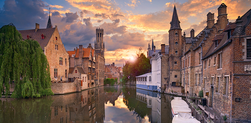 View of buildings along the canal in Bruges, Belgium