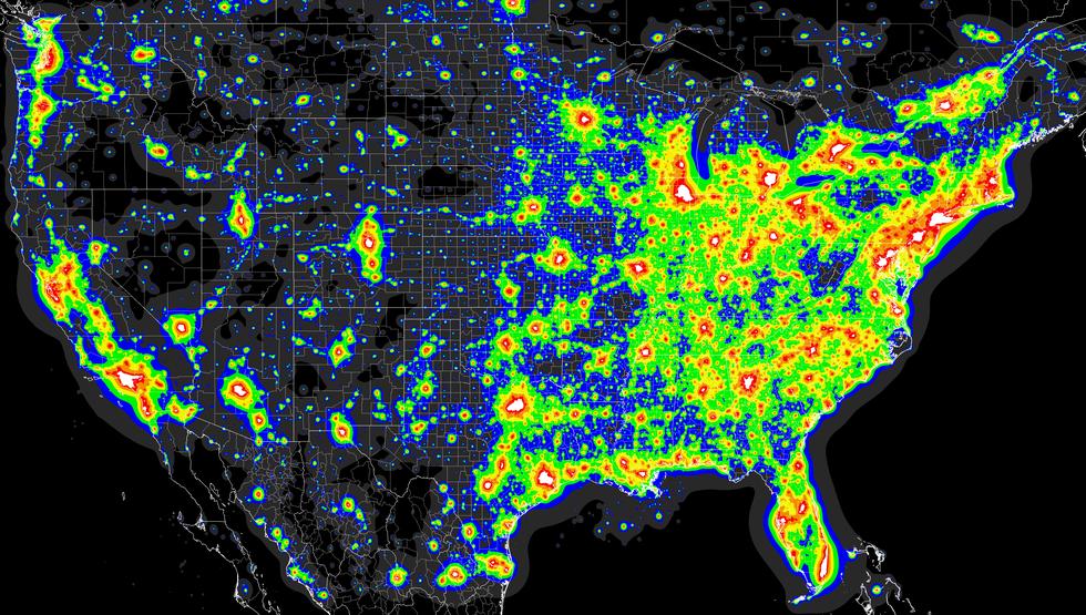 Starry Night More Like Super Bright Lights - Us night map