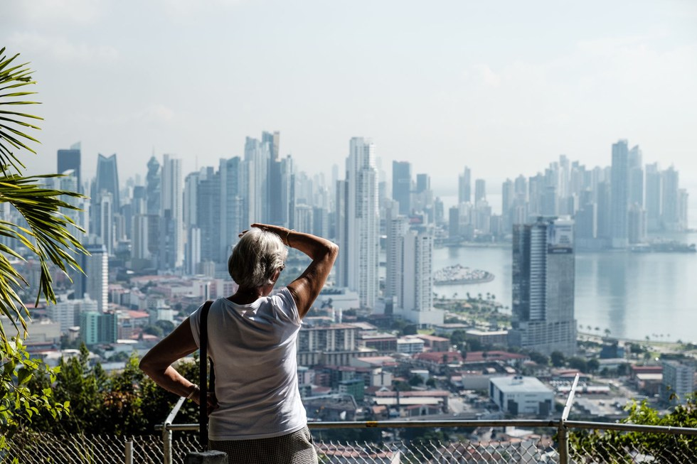 Panama City's towers seen from Cerro Anc\u00f3n