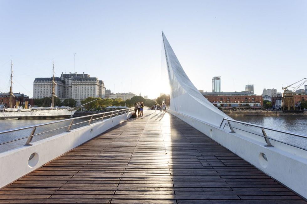 The Puente de la Mujer footbridge in Puerto Madero