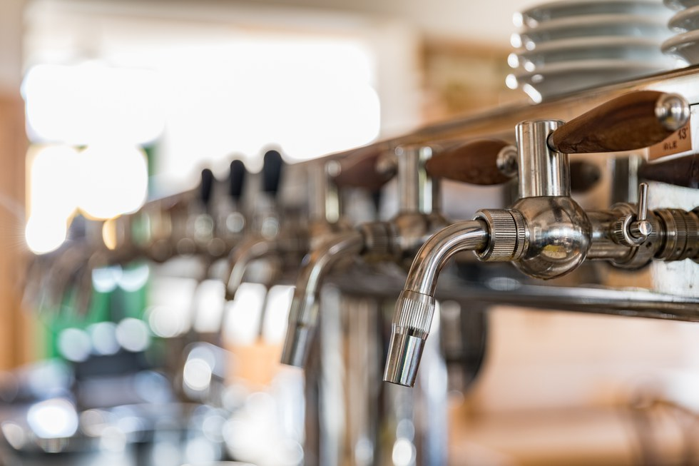 Beer taps at Russian River Brewery