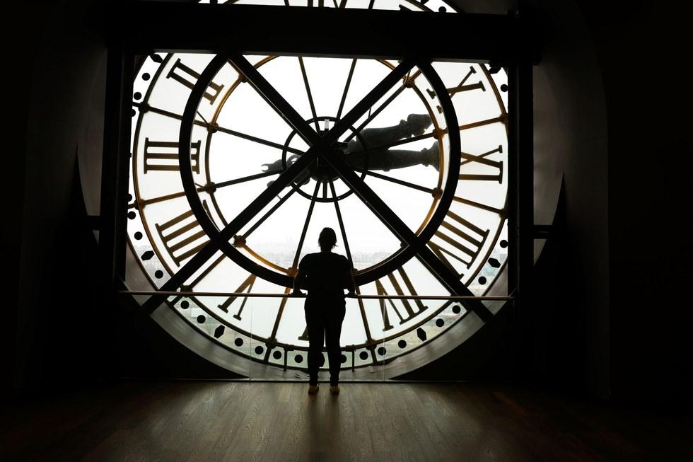 A view through the clock face at the Mus\u00e9e d'Orsay