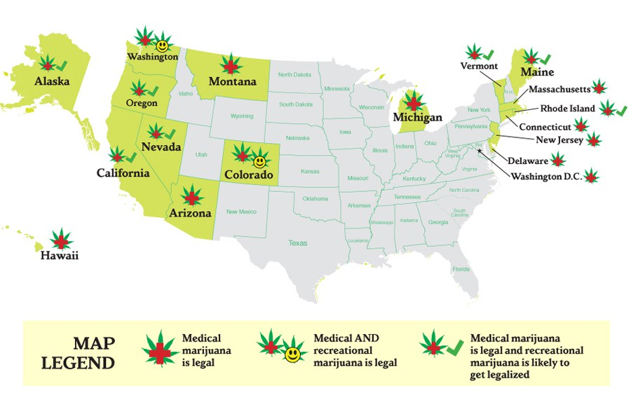 MAP Medical Marijuana Laws State By State A Map Of Every State - Legality of pot in the us map