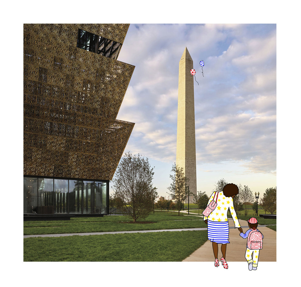 Illustration of child and mother walking through the National Mall in D.C.