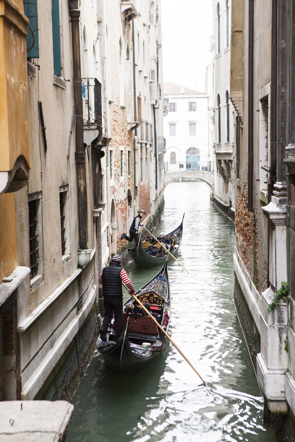 Taking the back route down a canal in Venice