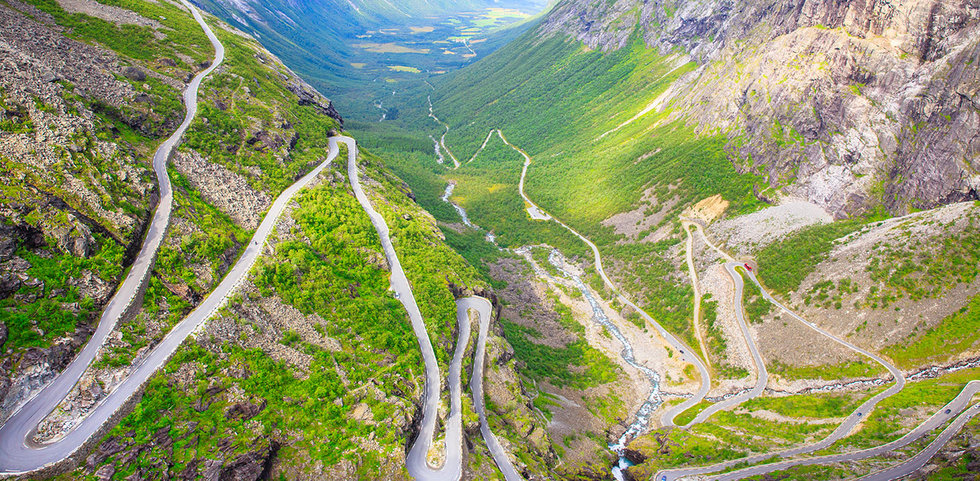 Winding roads down the mountains in Norway.