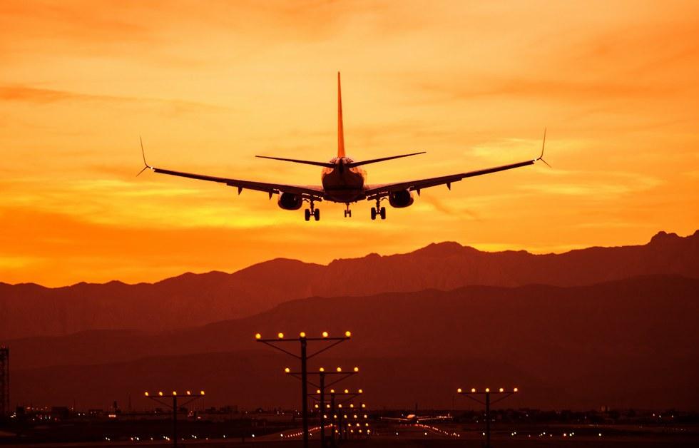 Airplane landing at McCarran International Airport in Las Vegas