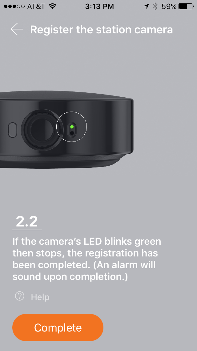 SmartCam LED blinks green and stops, registration is complete.