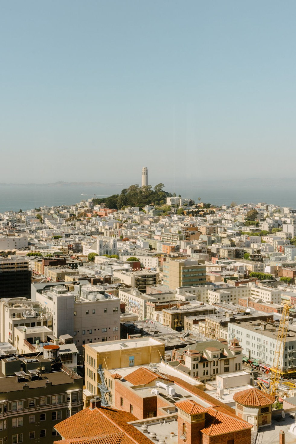 Coit Tower rises from the top of Telegraph Hill