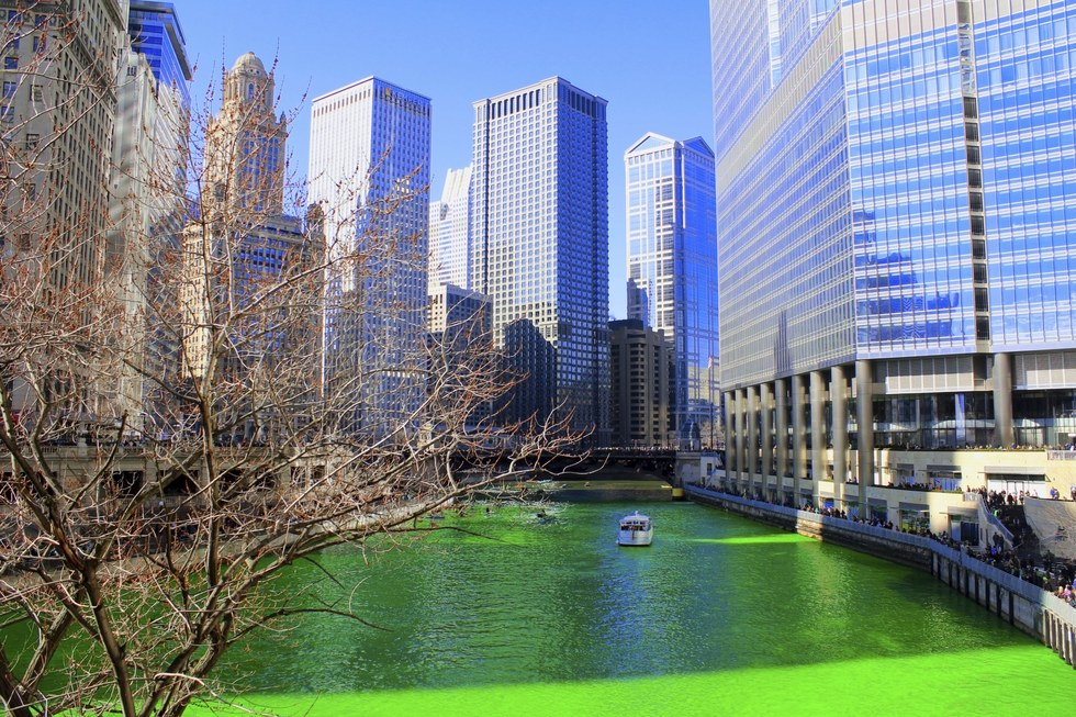 The dyed green Chicago river