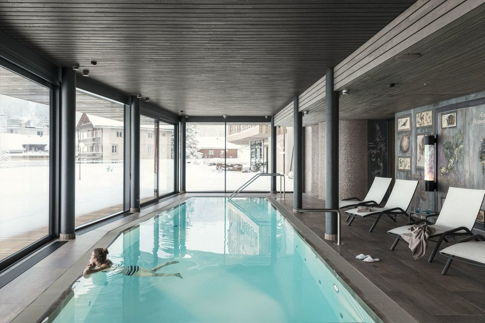 Pool at the Valsana Hotel & Appartements Arosa in Switzerland.