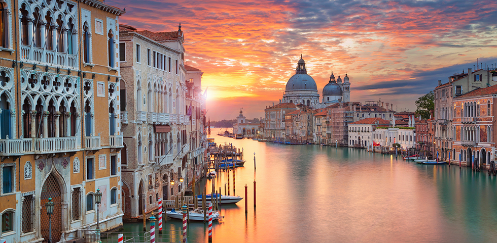 Sunset view of the canal in Venice, Italy