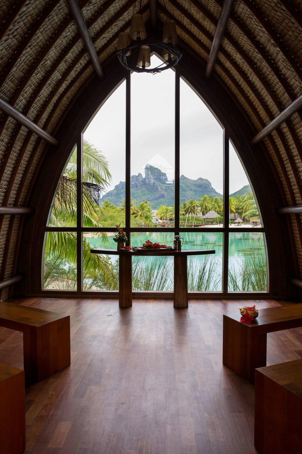 Bora Bora's main island, seen from the chapel at the Four Seasons