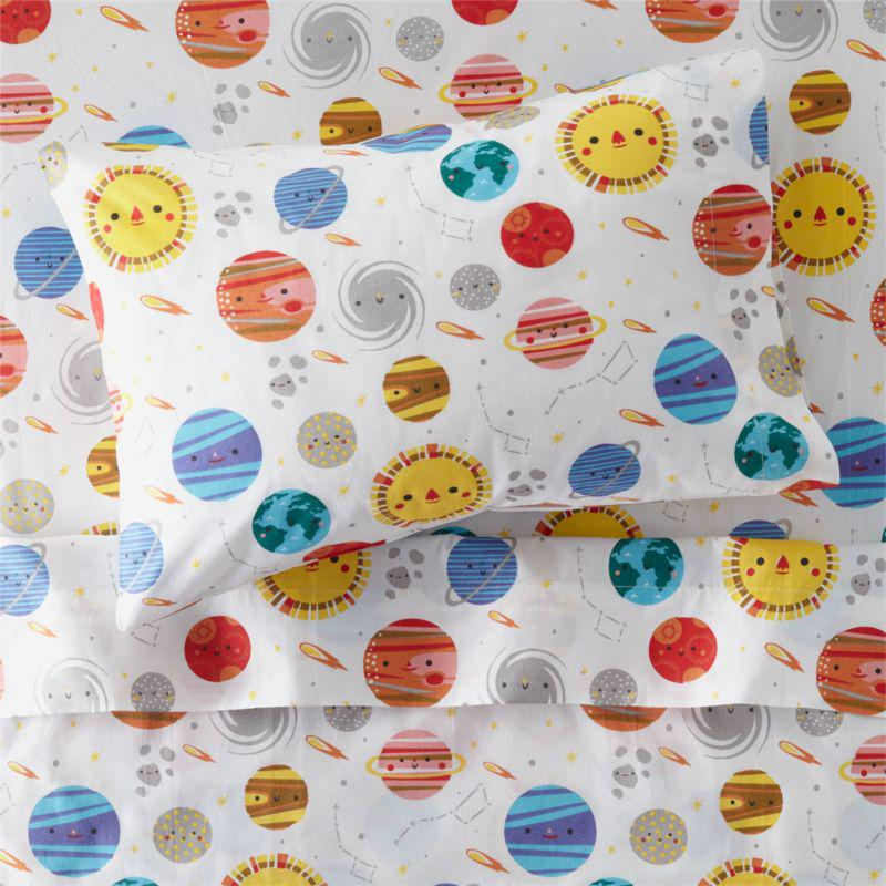 Crate and Barrel Organic Outer Space Toddler Sheet Set