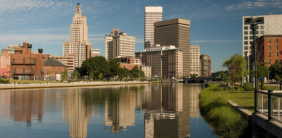 City view of Providence, Rhode Island from the river