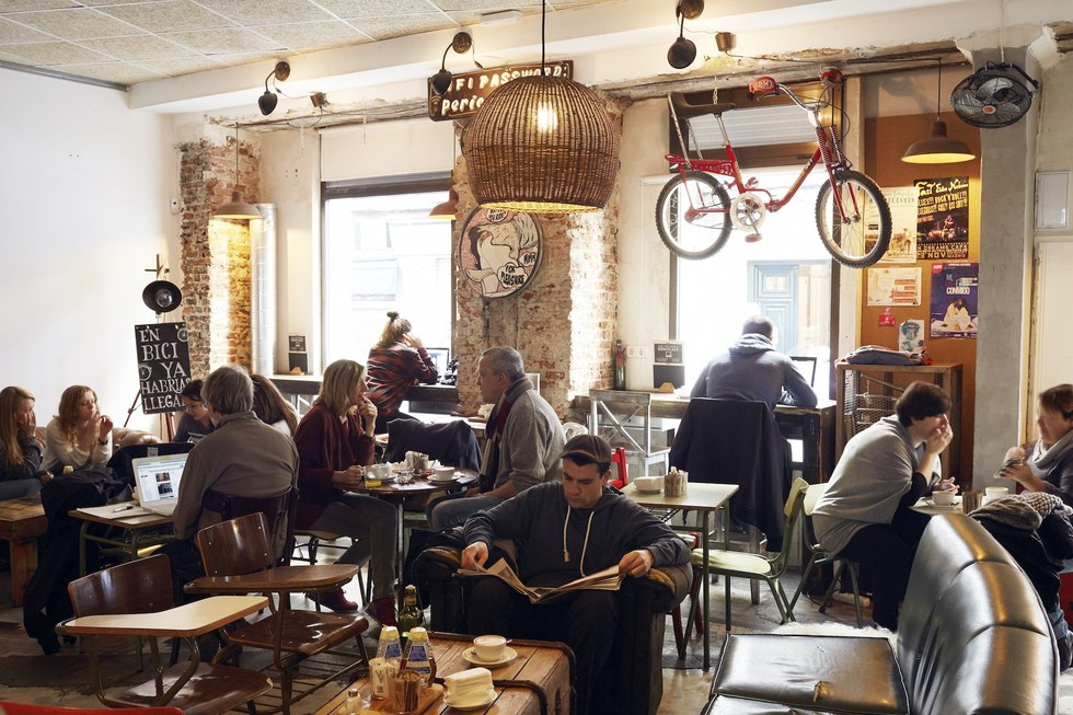 Working-the-fields cuisine meets beardy-Brooklyn decor at the fashionable brunch joint La Bicicleta Café