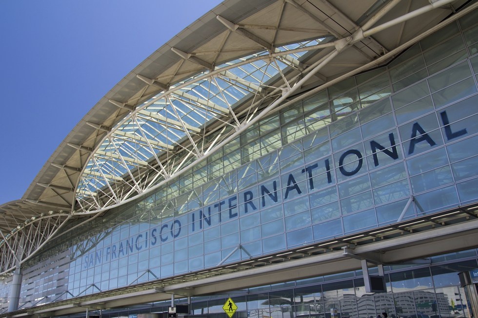 Departures entrance at San Francisco International Airport