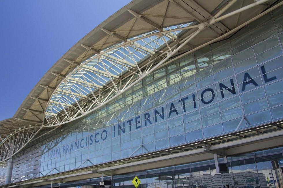 Departures entrance at San Francisco International Airport