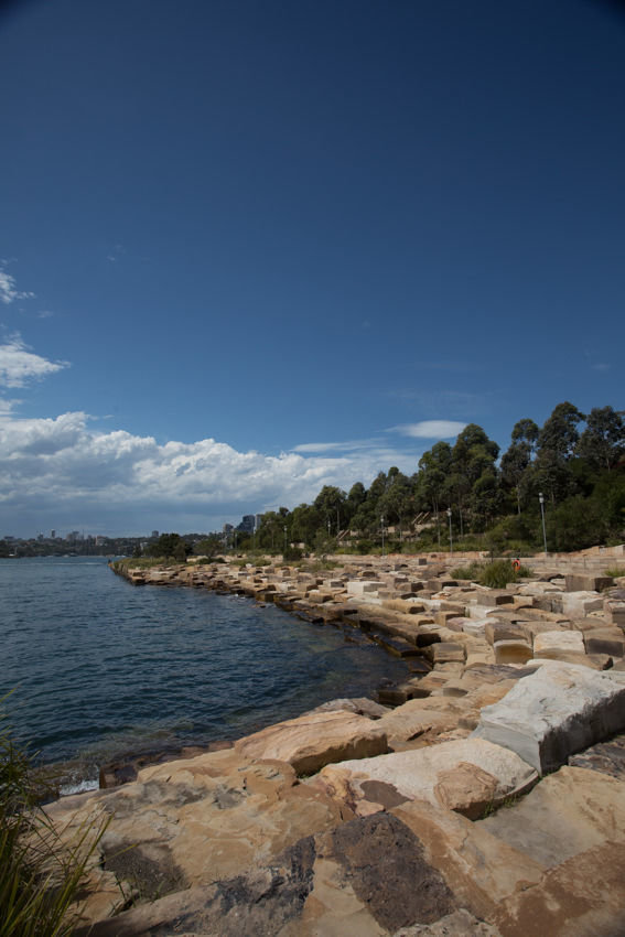 The reconstructed sandstone shoreline at the Barangaroo Reserve