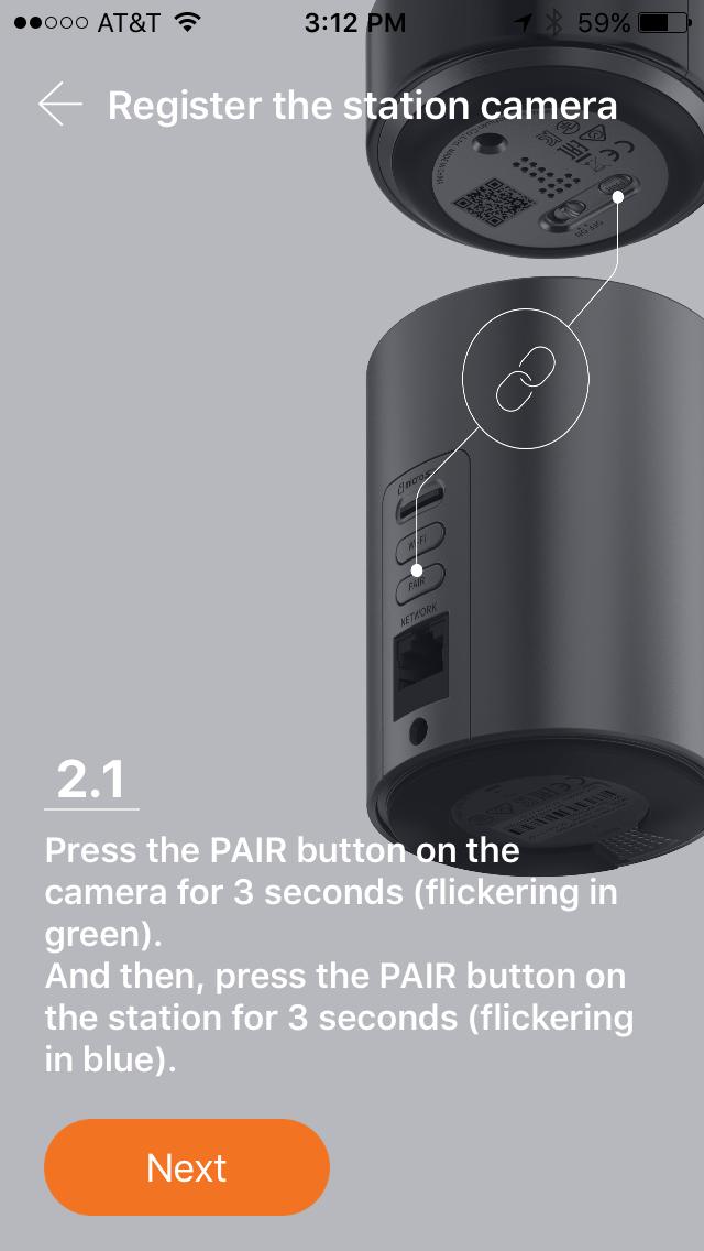 Pair SmartCam camera with Station Hub.