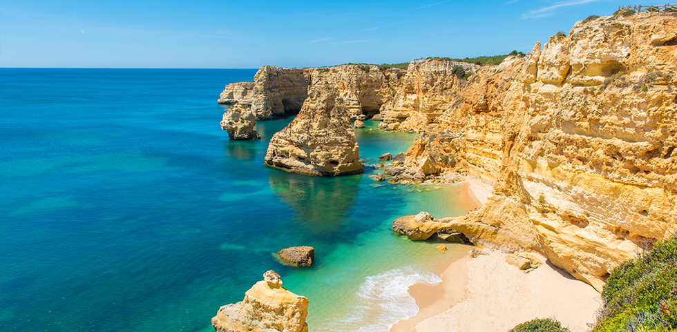 Aerial view of the cliffs and ocean in The Algarve, Portugal