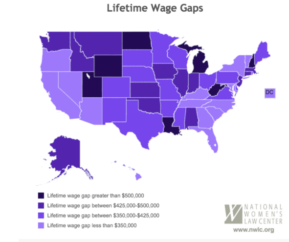 The Gender Pay Gap And The US Womens National Soccer Team - Us wage gap map