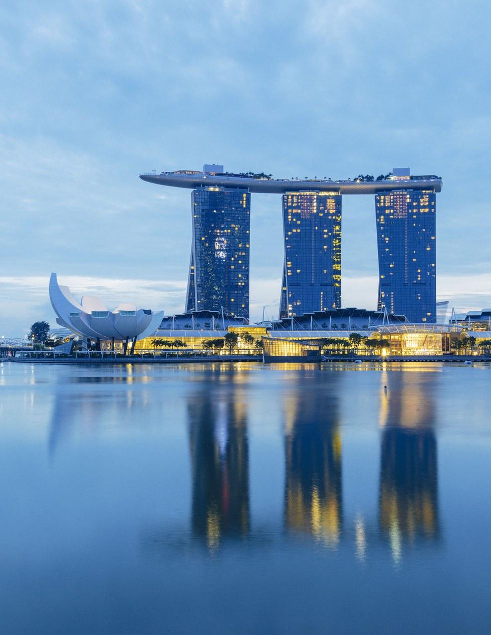 The skyline-dominating Marina Bay Sands resort and casino