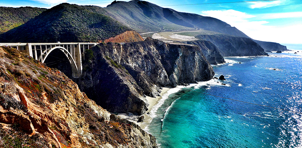 California's Pacific Coast Highway over looking the ocean in Big Sur.