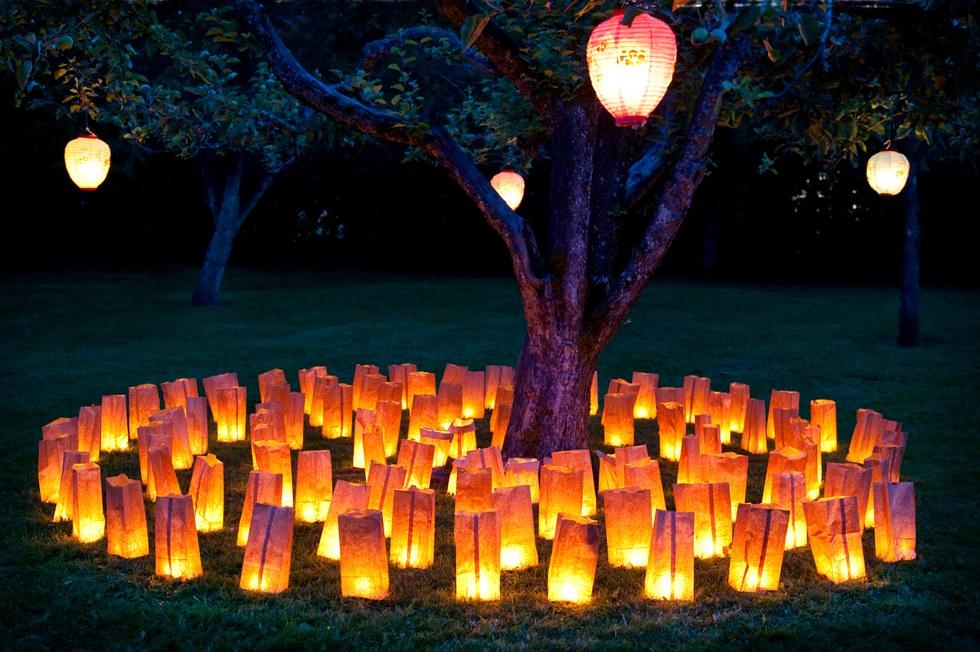 Lanterns lit up at the Las Noches de las Luminarias in Arizona.
