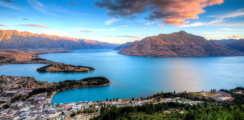 Aerial view of Queenstown, New Zealand