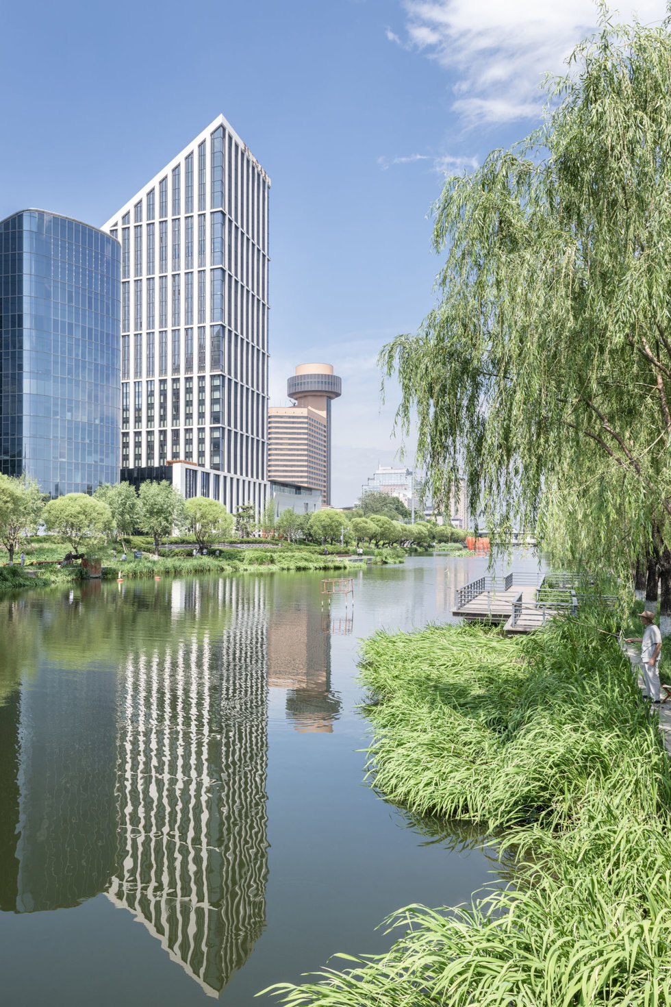 Modern towers along the Landmark River